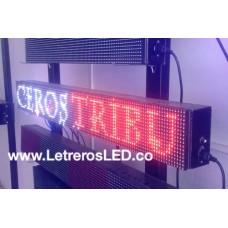 Letrero LED 16x128cm, Tri-Color RW [Rojo, Blanco, Rosado]. Tipo Exterior.