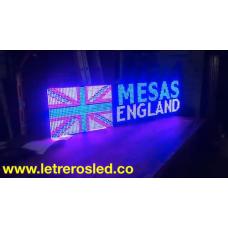 Pantalla LED Tri-Color 32x128. Exterior. Billares, Publicidad
