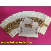 Tarjetas de Matrimonio - Papel Metalizado, Corte / Grafado